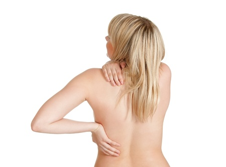 young woman has back pain photo