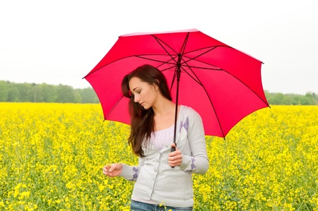 young woman with umbrella in canola field photo