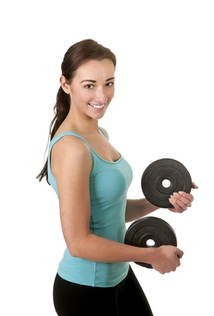 woman exercising with dumbbells Stock Photo - 17098545