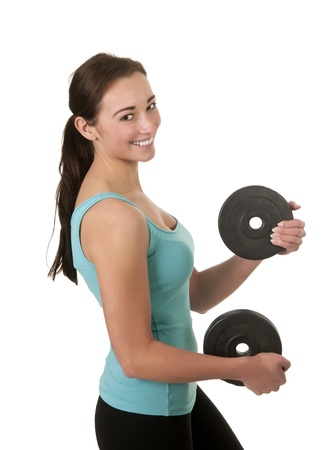 woman exercising with dumbbells Stock Photo - 17098568