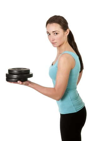 young woman  with dumbbells Stock Photo - 17098566