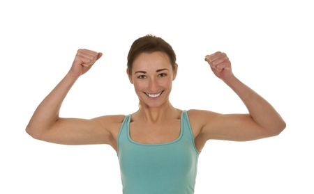 pretty young woman showing her muscles photo
