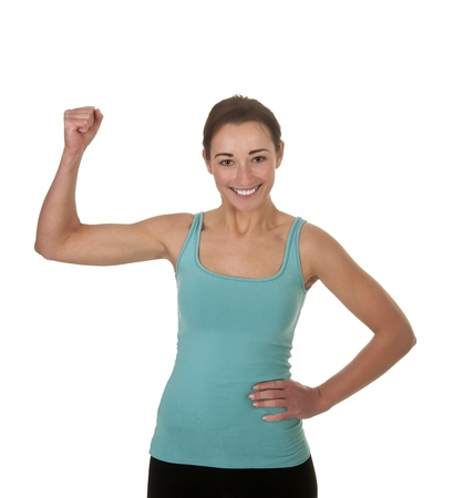 pretty young woman showing her muscles Stock Photo - 17098558
