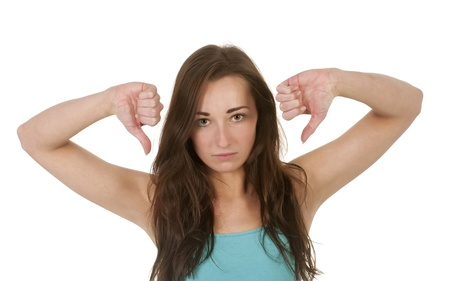 unsuccessfully: young women showing thumbs up