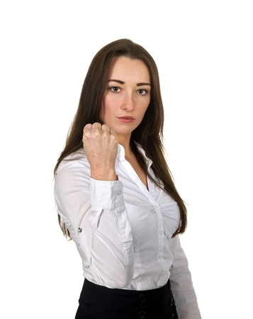 threaten: aggressive businesswoman boxing with one fist