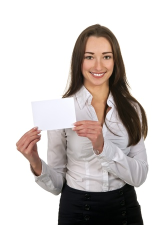 businesswoman with white business card photo