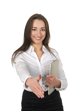 handshake of a laughing businesswoman with tablet pc Stock Photo - 18527409