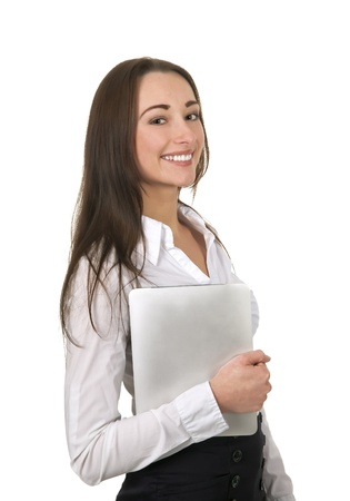 laughing businesswoman with tablet pc under her arm Stock Photo