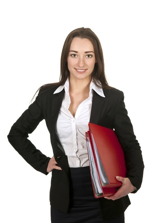 happy businesswoman holding red folders photo