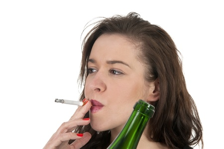 young woman with cigarette and alcohol photo
