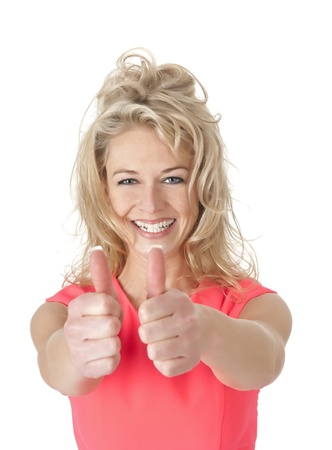 succesful woman: succesful young smiling woman showing thumbs up