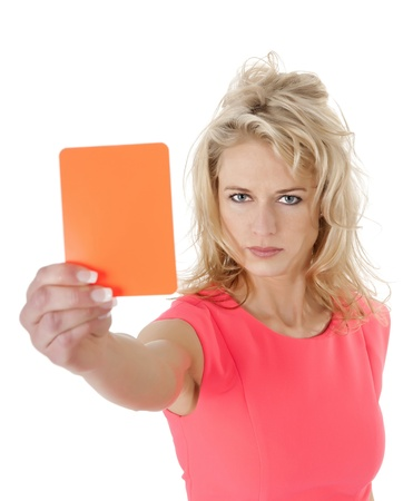 banning the symbol: young woman showing red card Stock Photo
