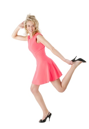 woman running in high heels photo