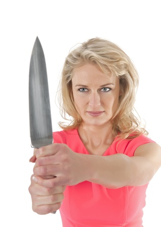 woman holding knife  photo