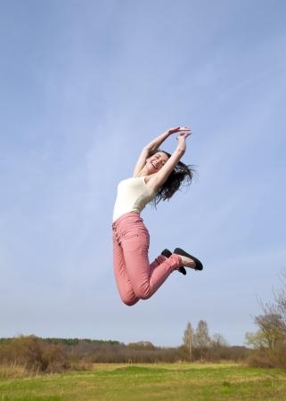 high spirited: joyful leap