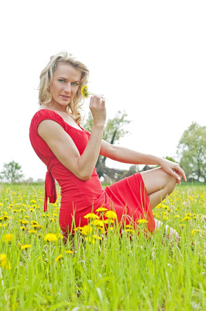 beautiful young woman smelling dandelion photo