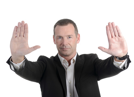 businessman showing stop with two hands