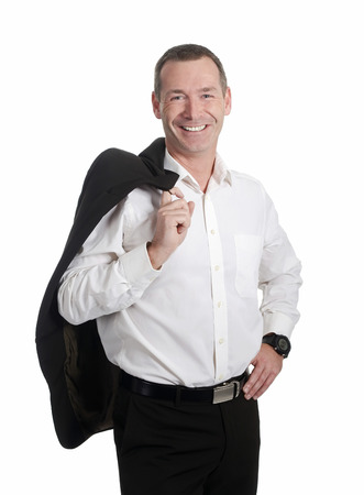 happy businessman in front of white background photo