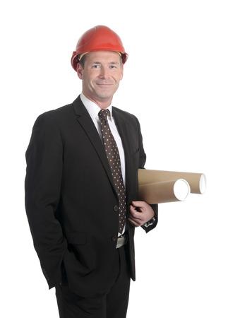 casco rojo: sonriendo arquitecto con el casco rojo Foto de archivo
