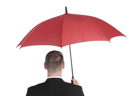 businessman with red umbrella, rear view photo