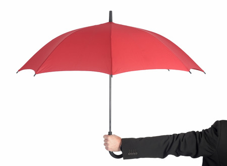 man holding red umbrella, rear view photo