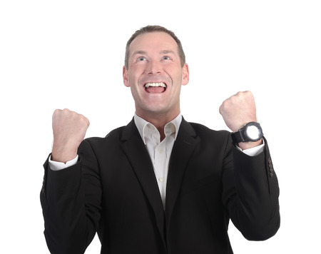 businessman cheering with two fists photo