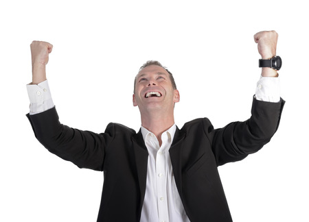 businessman cheering with two fists