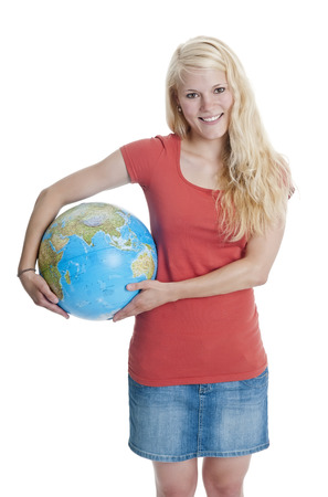 pretty young woman: pretty young woman holding globe Stock Photo