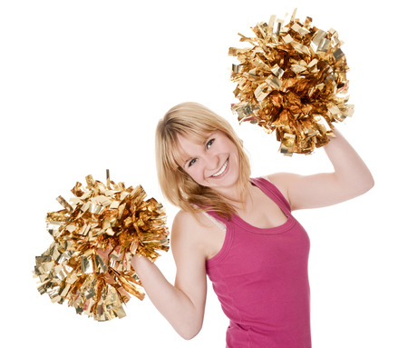 rejoicing:  laughing young blond cheerleader rejoicing