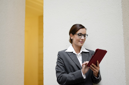 happy businesswoman with digital tablet  photo