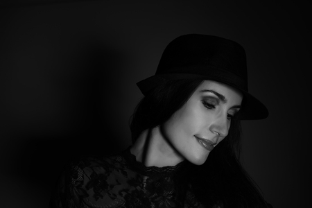 sensual young woman with hat