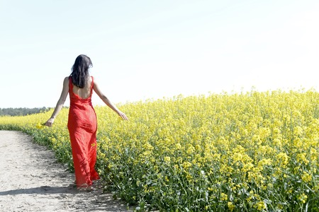 graceful young woman  in the rape field, rear view