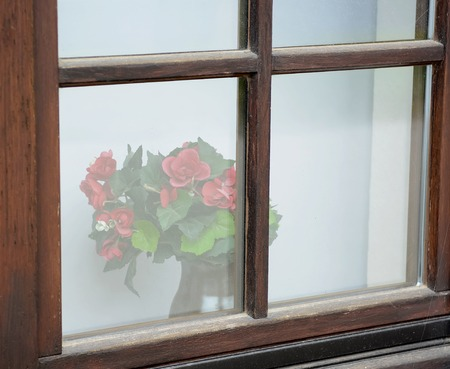 red roses behind old window