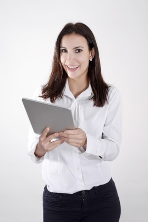 happy young businesswoman with digital tablet Banco de Imagens