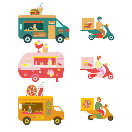Food truck and moped delivery Pizza burger and ice cream Flat illustration