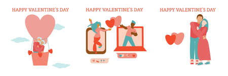 St Valentine cards Long distance relationships of an interracial couple Young couple dance together through video call Hugging couple Old couple traveling by hot air baloon....