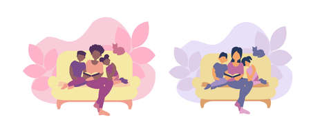 Family seeting on the sofa and mom reads book for son and daugter. Two illustrations for mother s day cards.