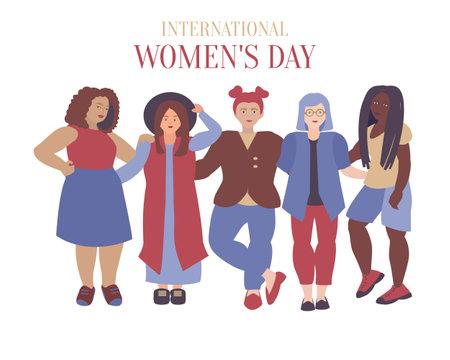 International women's day card Flat illustration of five diverse woman on white background Ilustração