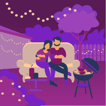 Young couple sitting in the backyard at night Romantic date in garden Vector flat illustration