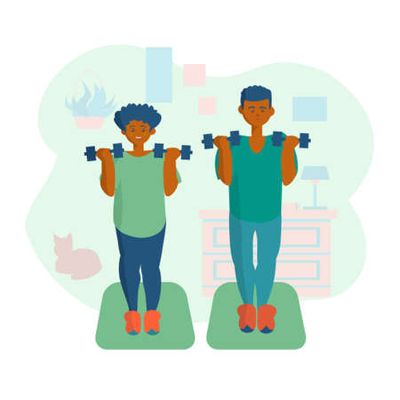 Smart african american man and woman doing exercises with dumbbells Workout at home Cartoon illustration
