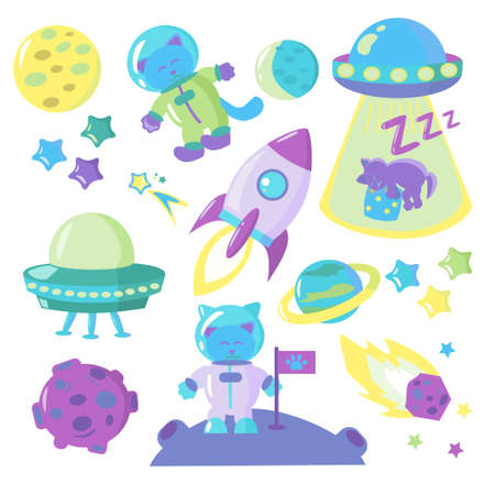 Collection of space cartoon vector illustrations on white background Icons of rocket, space cat, planets and ufo Set of isolated space objects Ilustración de vector