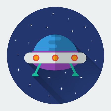 unidentified flying object: Flying saucer UFO flat icon with long shadow.