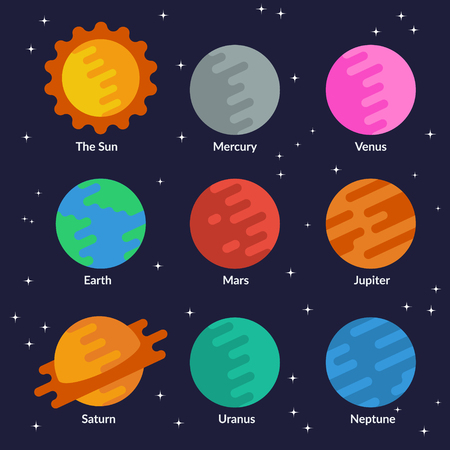 uranus: Solar system planets and the sun. Vector set in flat style.