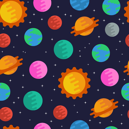 Space seamless pattern with planets, the sun and stars. Flat style. Vector illustartion.