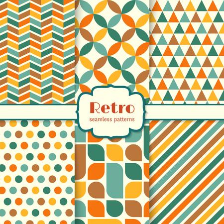 Retro seamless patterns set. Colorful geometric background. Vector illustration.