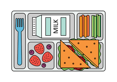 bilberry: School lunch with a sandwich, fresh berries, vegetables and milk. Line style. Vector illustration. Illustration