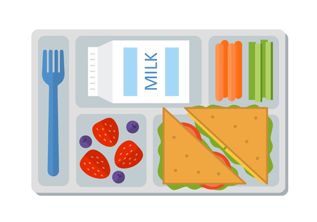 School lunch with a sandwich, fresh berries, vegetables and milk. Flat style. Vector illustration. Reklamní fotografie - 70958637