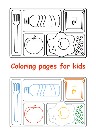 lunch tray: Coloring pages for kids. Lunch tray. Line style. Vector illustration Illustration
