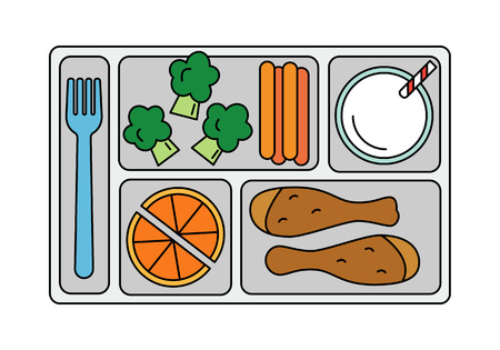 School lunch with chicken drumstick, vegetables, orange slices and a glass of milk. Line style. Vector illustration.