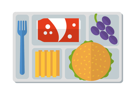 School lunch with hamburger, french fries, a can of soda and bunch of grapes. Flat style. Vector illustration.